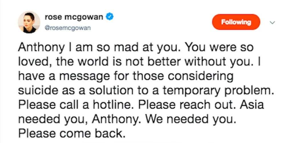 rose mcgowan reacts to anthony bourdain death