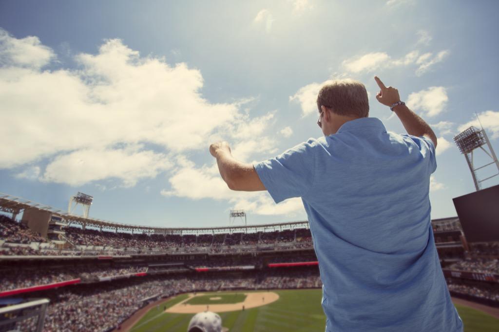 man at baseball game