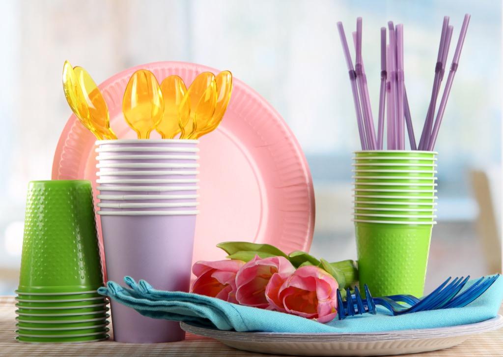 plastic silverware, plates, environment