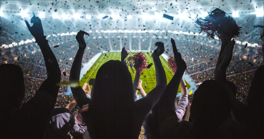 crowd cheers at stadium
