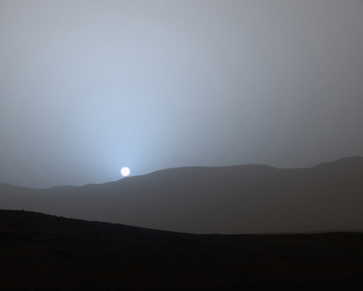 sunset in mars gale center, blue, astonishing facts