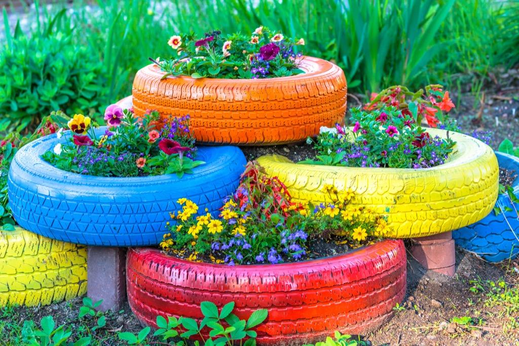 diy tire planters summer backyard plants