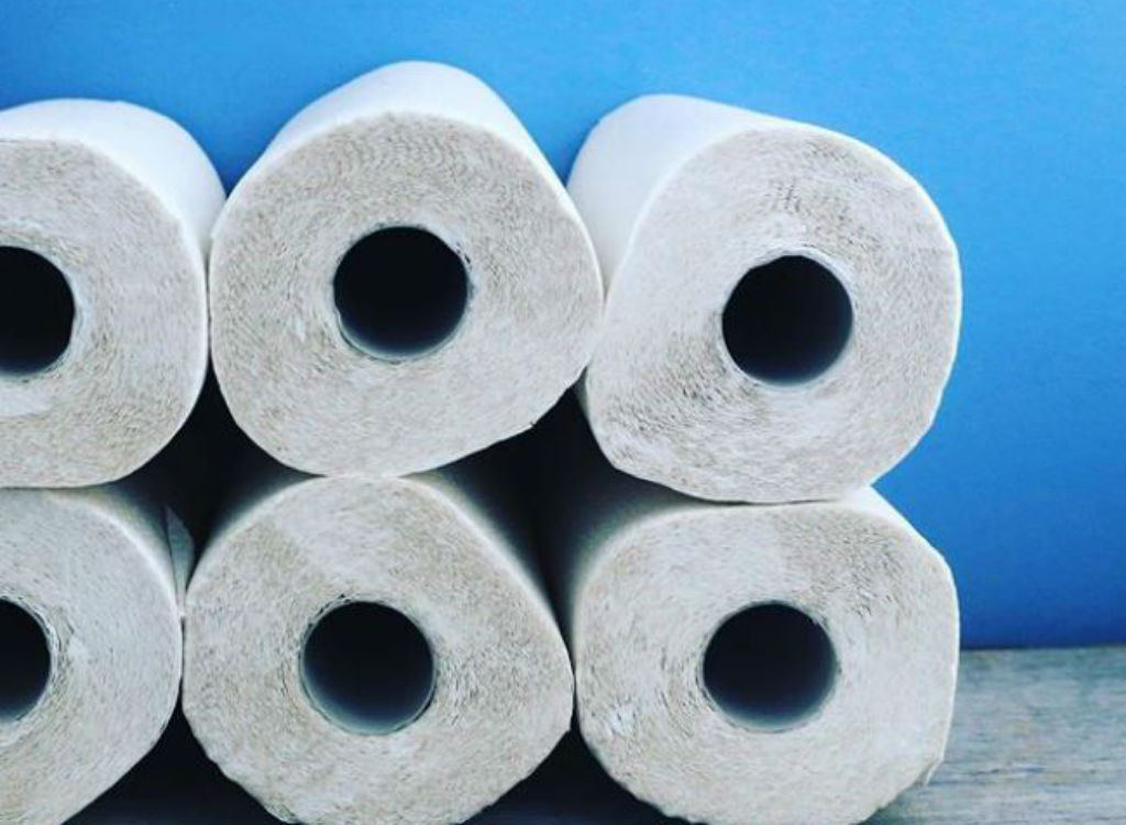 Stacks of toilet paper