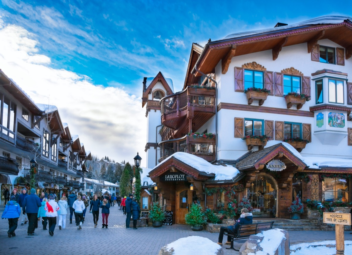 winter mountain town with a swiss-style building