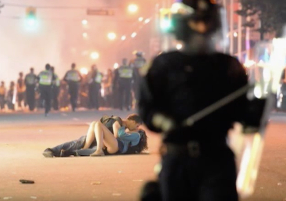 Vancouver Couple Kissing During Vancouver Riots