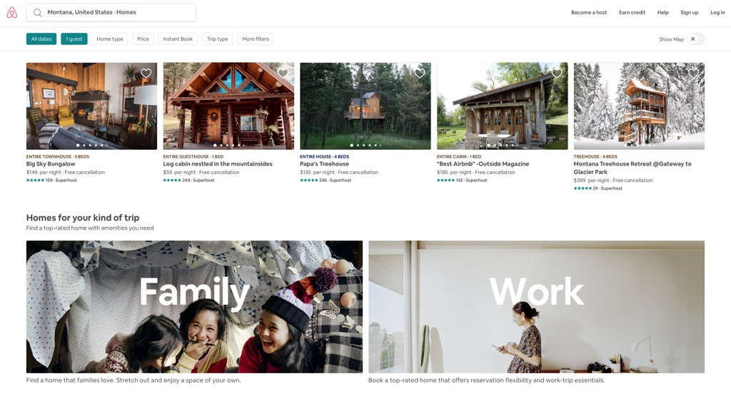 airbnb website most popular web search in every state