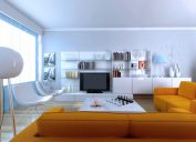all white organized living room with sectional sofa