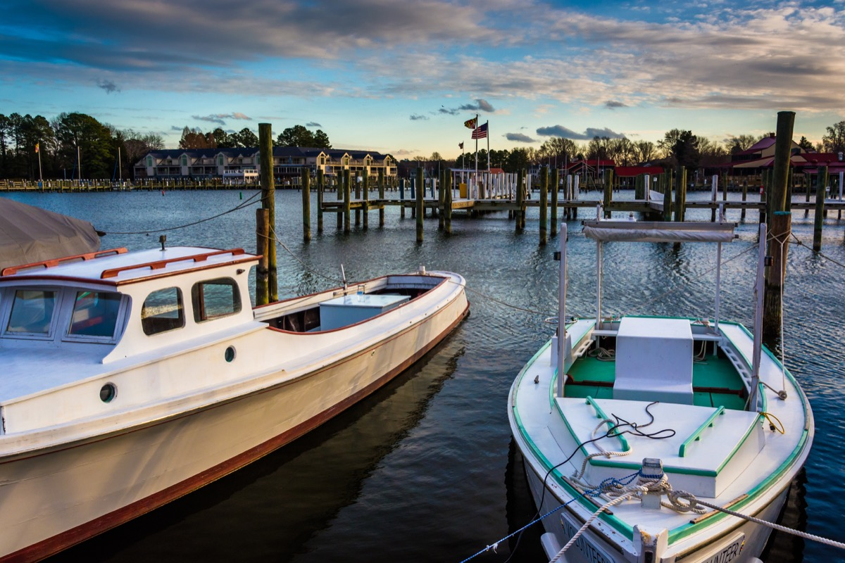 boats docked at st michaels marina in chesapeake bay maryland