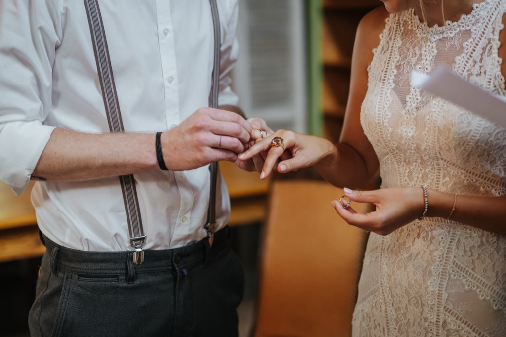 bride and groom exchanging rings this is the age most people get married in every US state