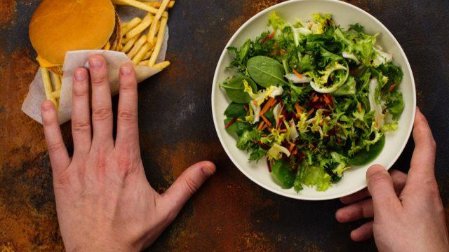 Burger versus salad
