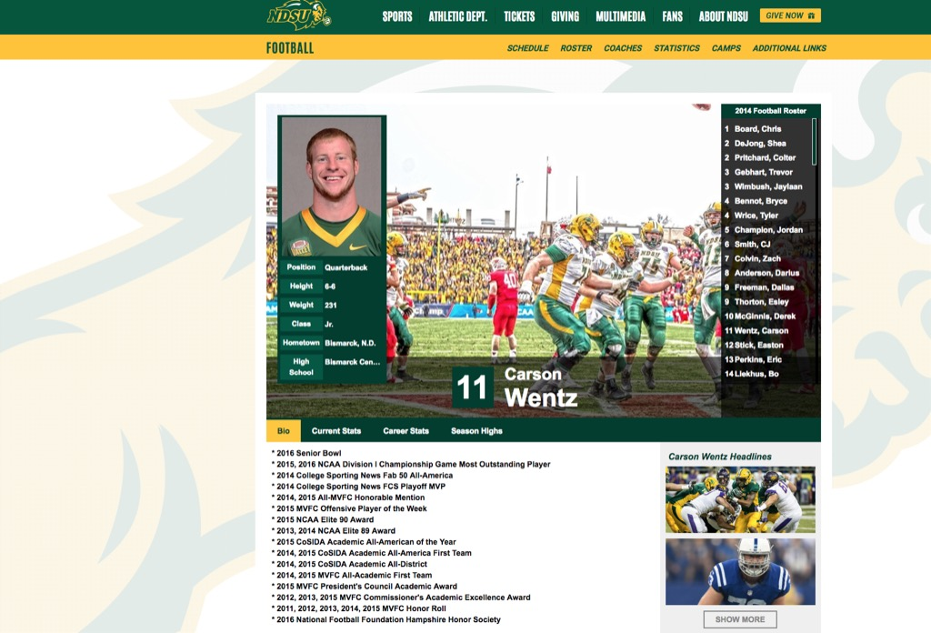 ndsu website carson wentz most popular web search in every state