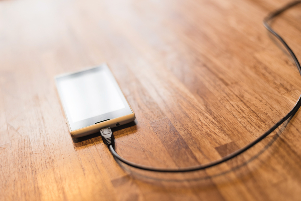 Charging Smartphone on Table