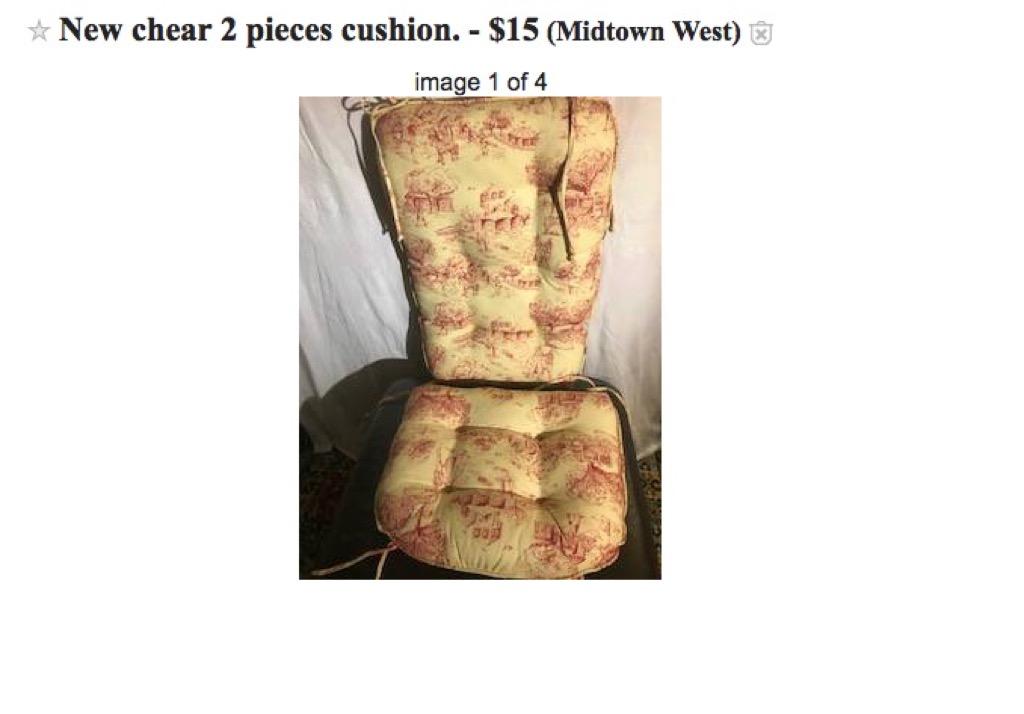 Misspelled chair on Craigslist