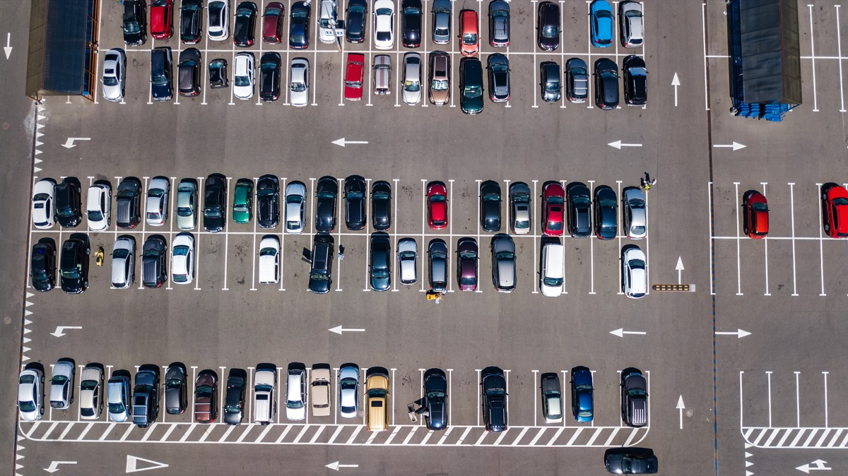 aerial view of a crowded parking lot