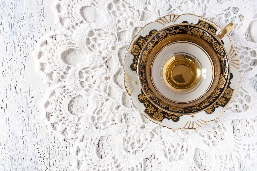 lace doily under teacup