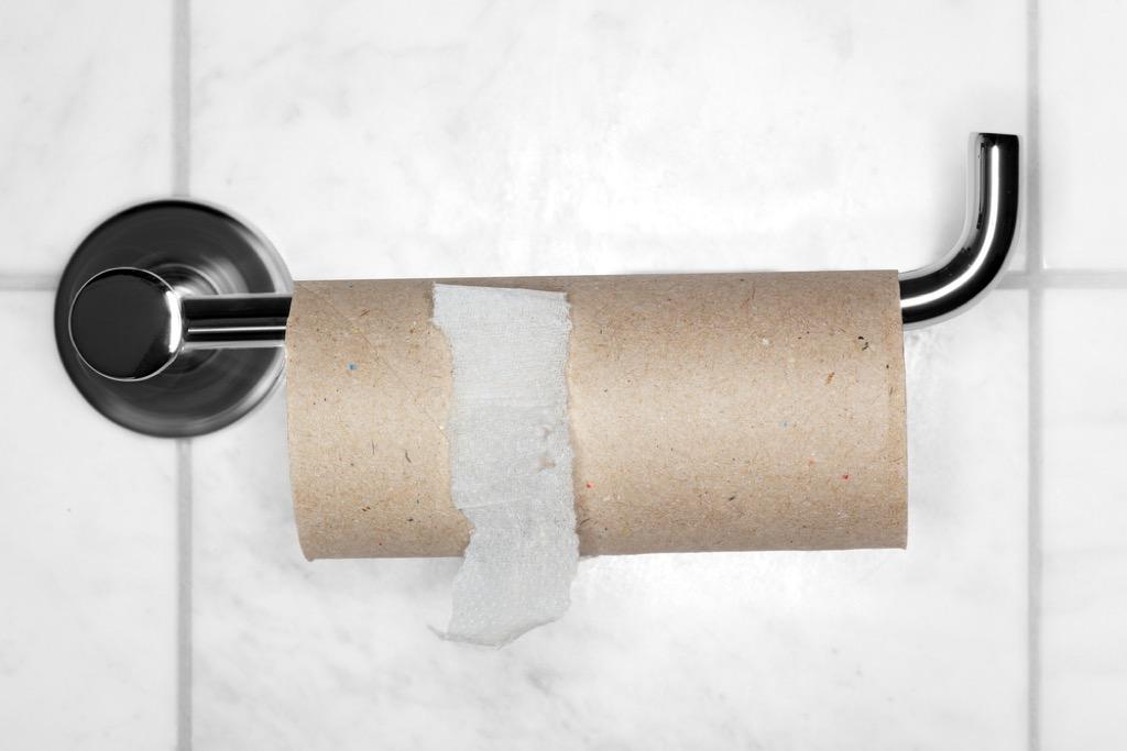 cardboard roll in bathroom