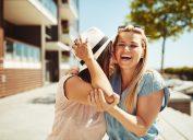 Friends, girlfriends, friends laughing