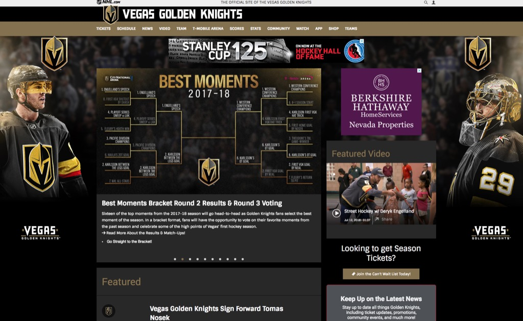 golden knights website most popular web search in every state
