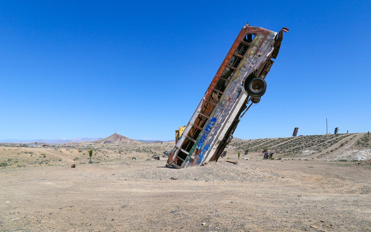 bus buried in ground nevada