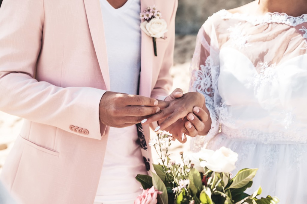 groom placing ring on bride's finger this is the age most people get married in every US state