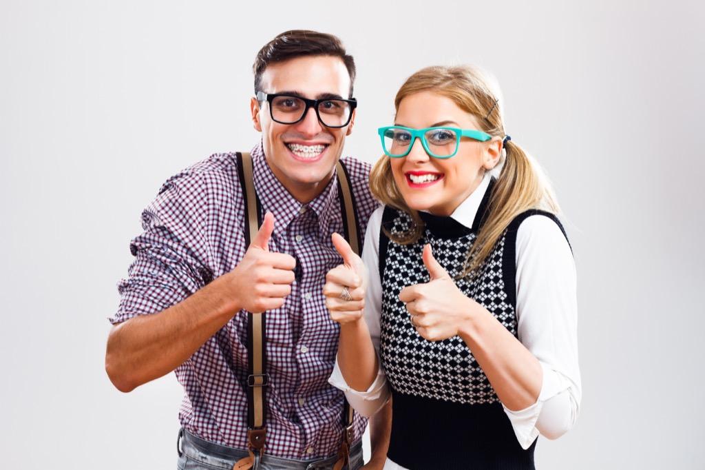 happy nerdy couple