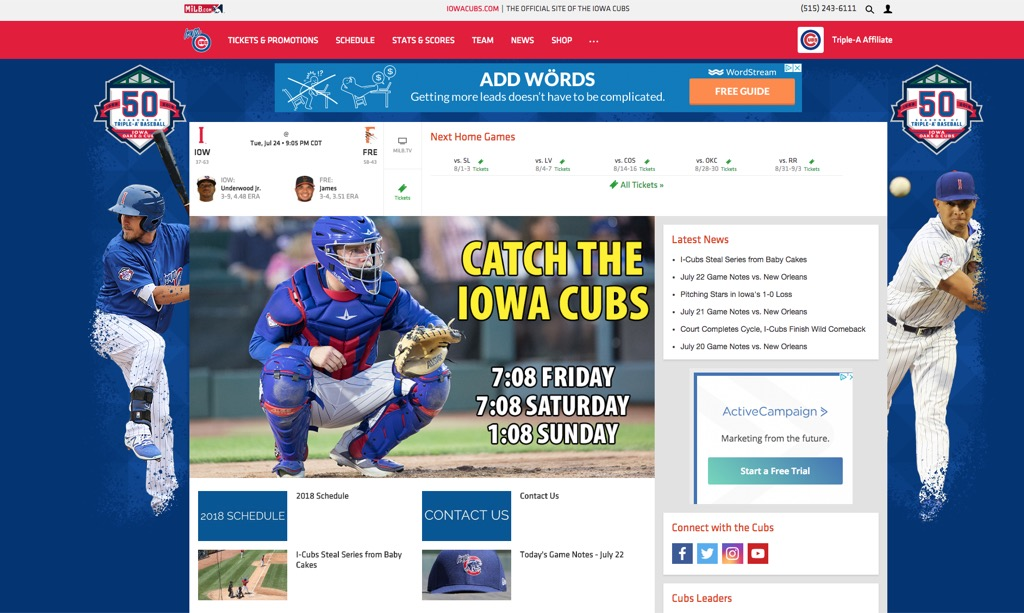 iowa cubs website most popular web search every state