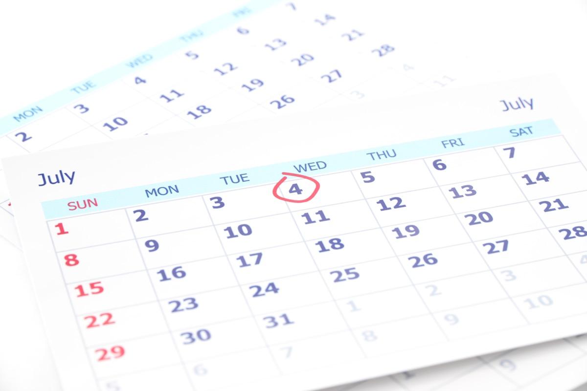 july 4 calendar fourth of july