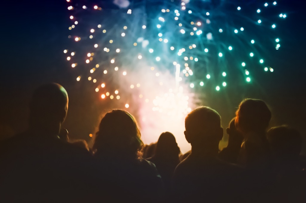 a crowd of people gathered to watch july 4th independence day fireworks