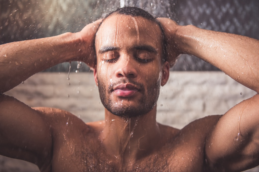 man in shower help the earth
