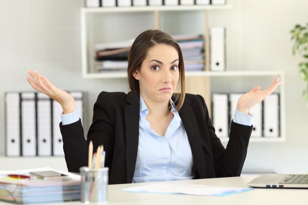 Boss/coworker feels no guilt, shrugging