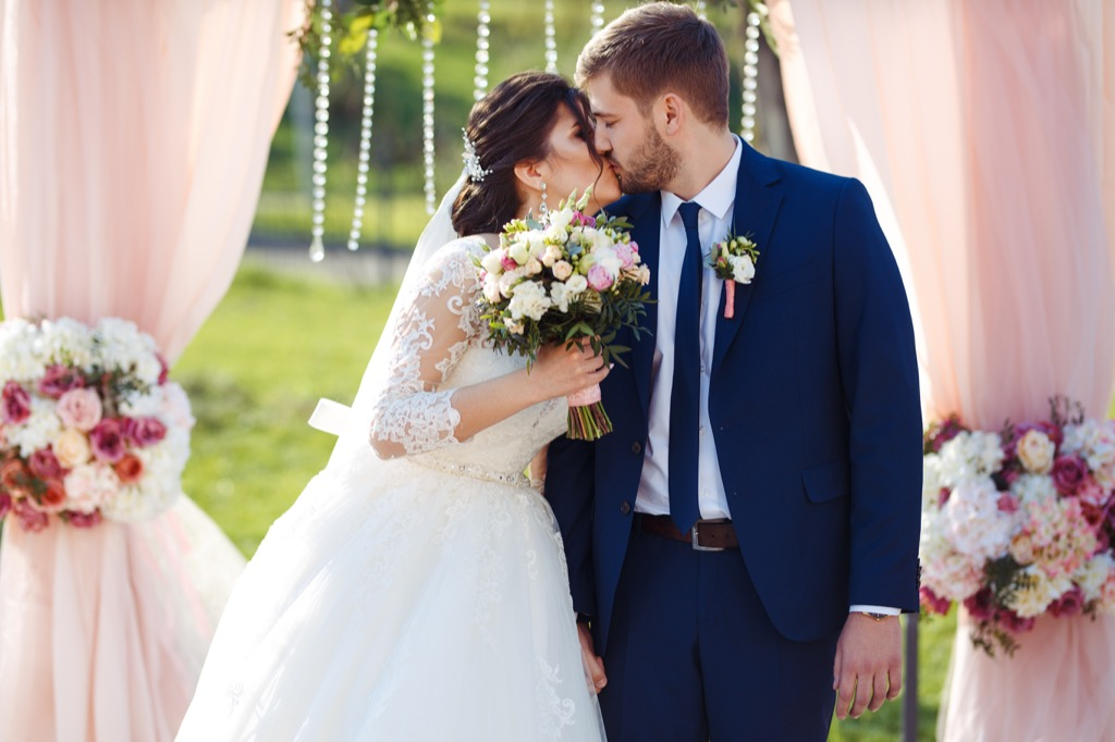 happy married couple wedding day