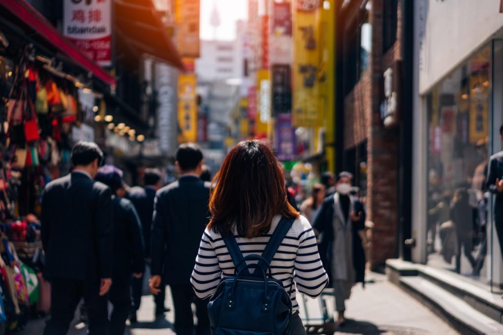 Busy street in South Korea