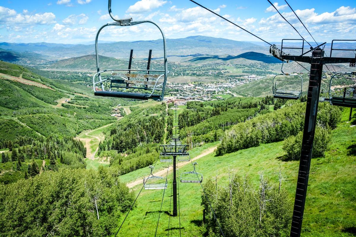 a park city utah ski lift in summer