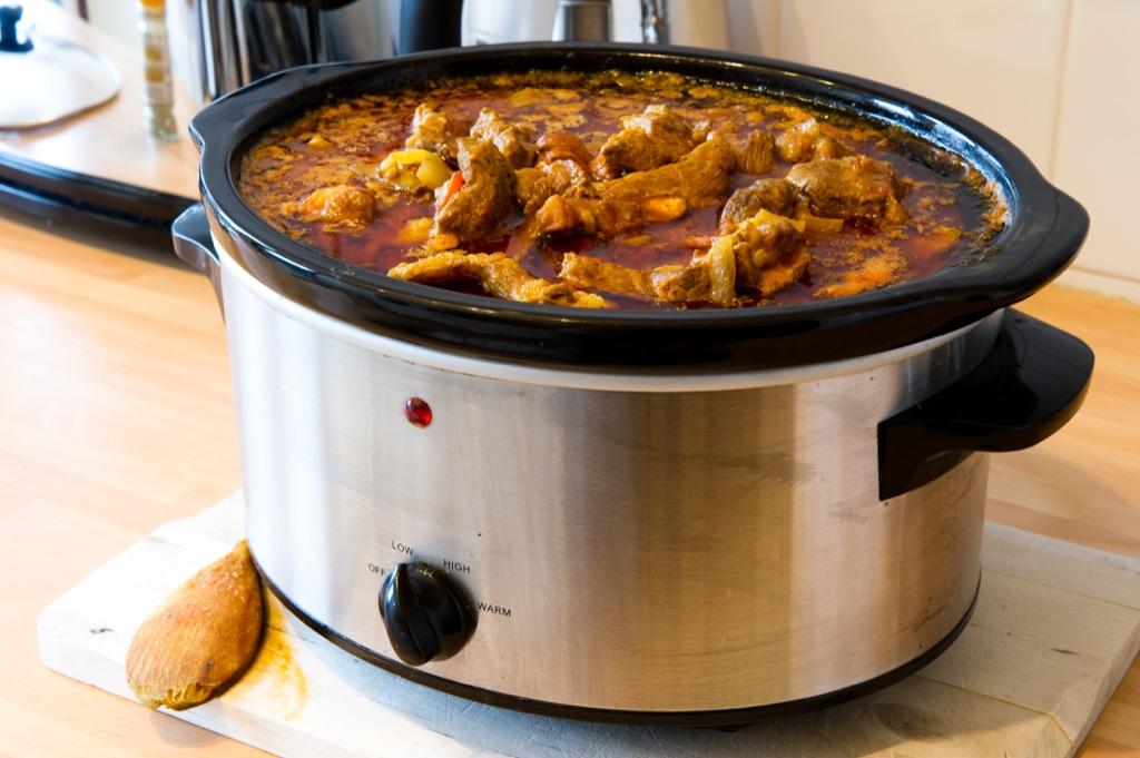 crock pot with lid off
