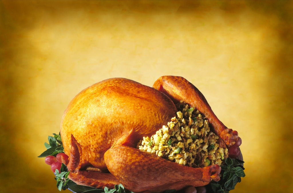 Stuffed turkey with stuffing/dressing for thanksgiving or christmas