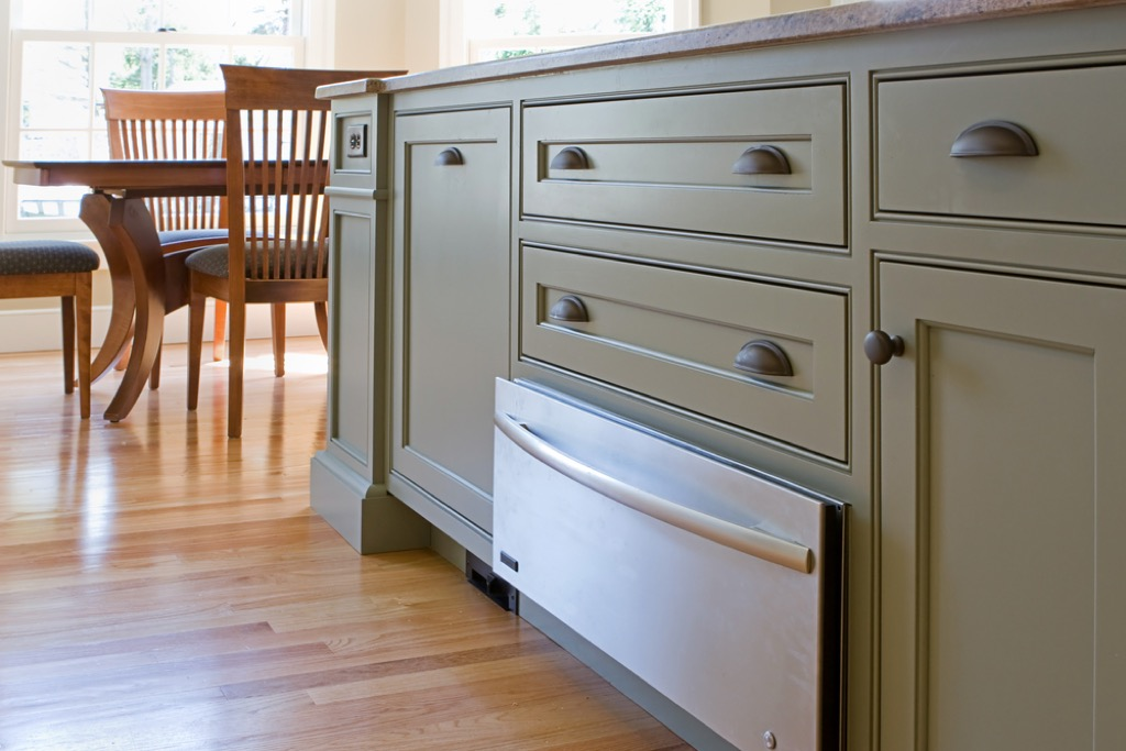 green kitchen cabinets and oven drawer, home upgrades