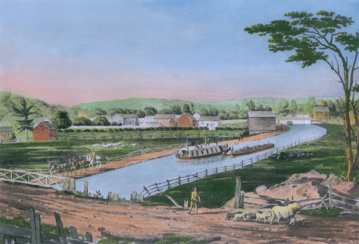 watercolor painting of the erie canal