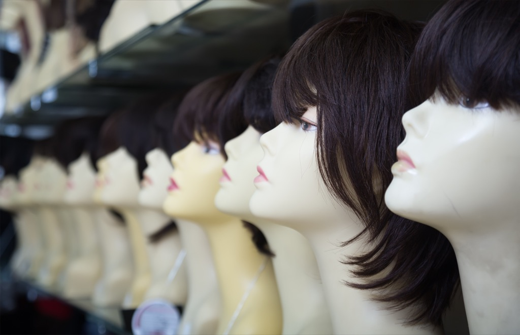 Wigs on display.