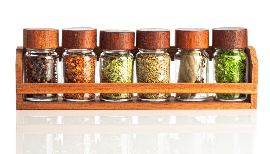 Wooden spice rack.