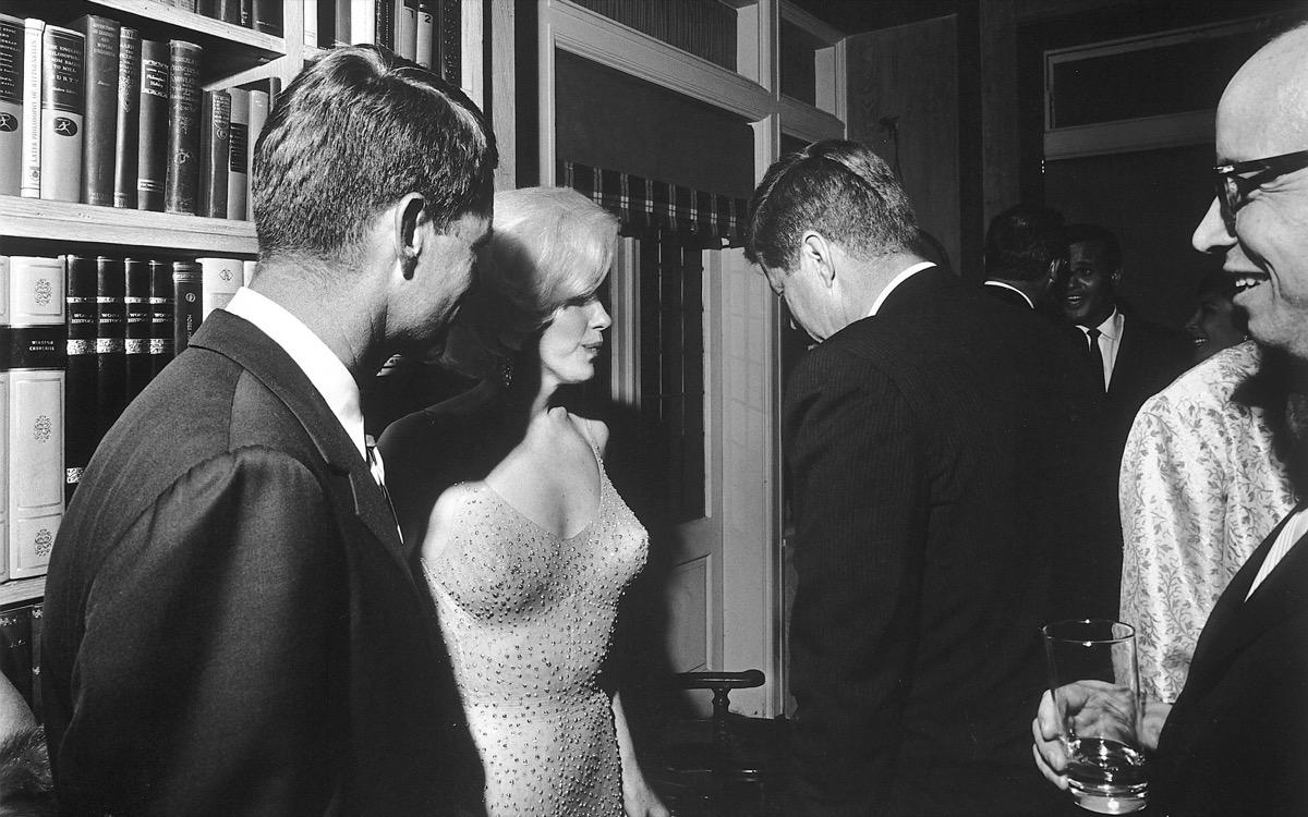 marilyn monroe in famous dress with john f. kennedy