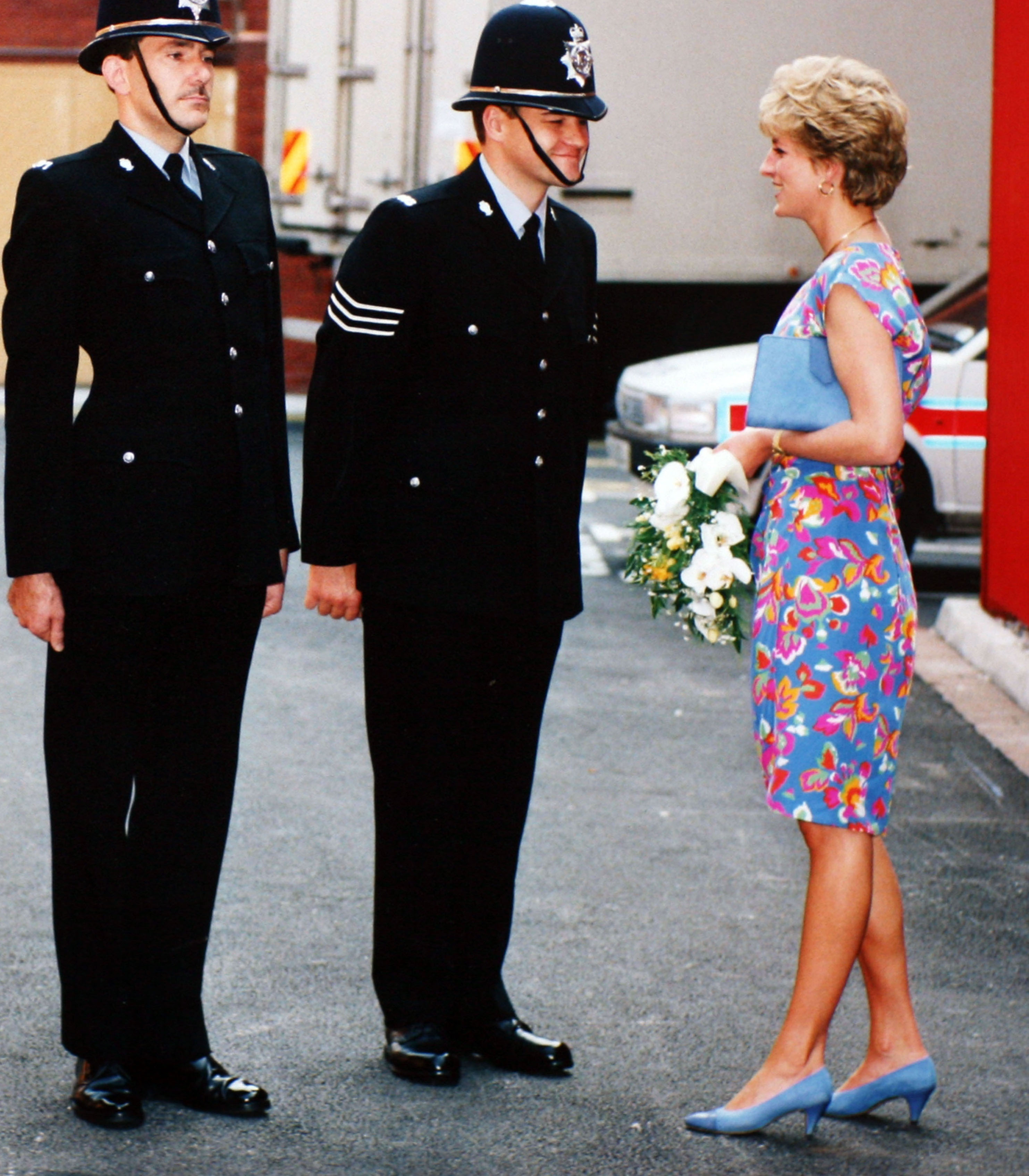 Princess Diana talking to officers
