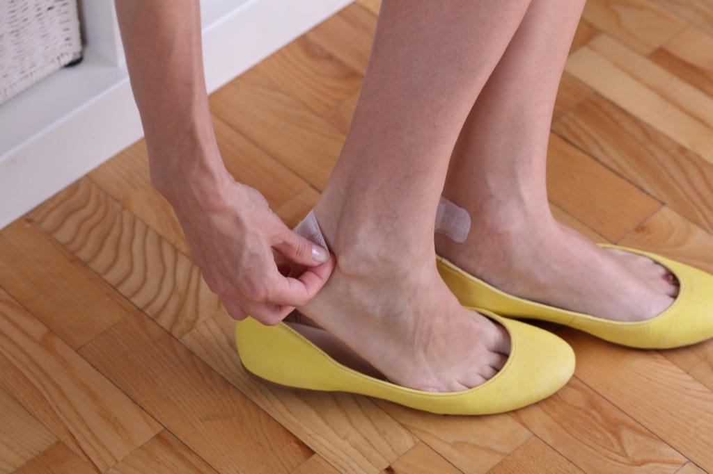 Blisters on feet, bandaids