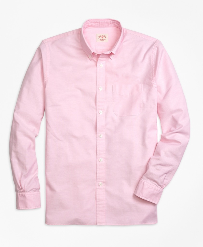 brooks brothers pink oxford collar button down