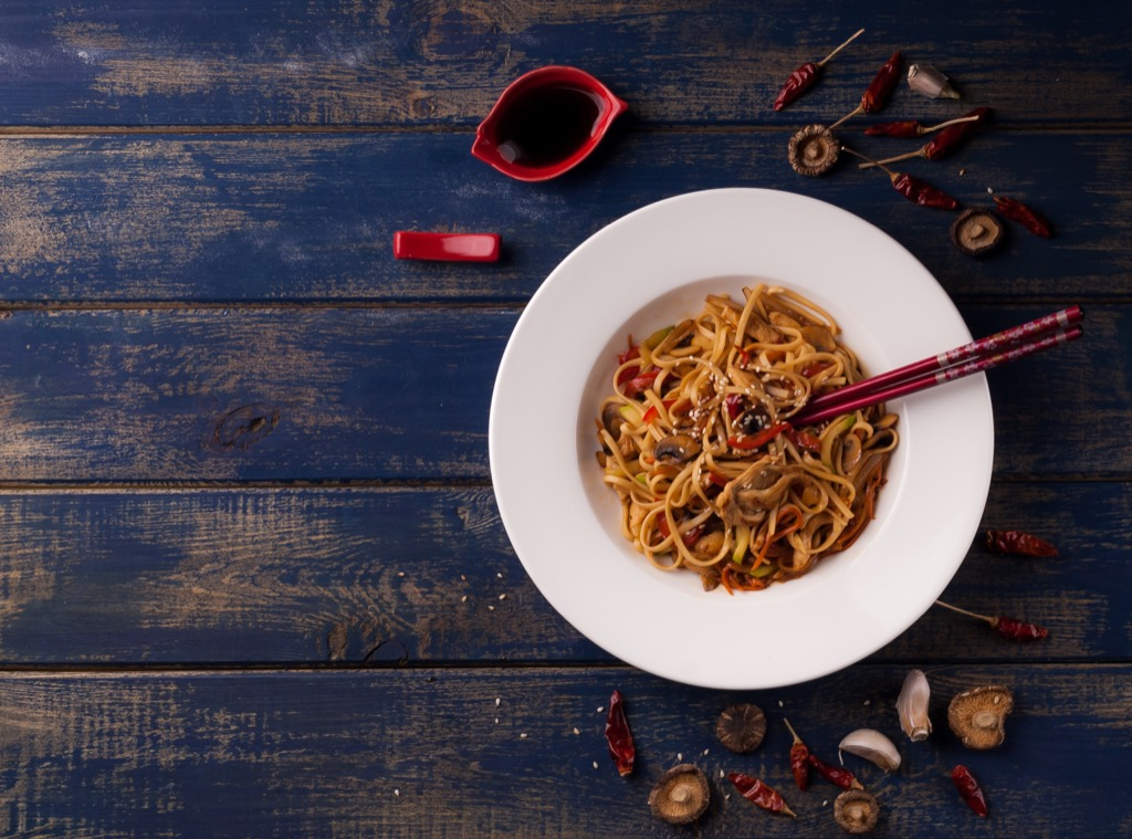 chopsticks sticking out in noodles  - old wives' tales