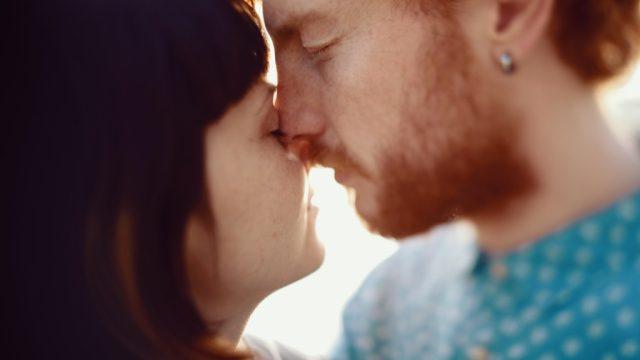 couple kissing awkwardly