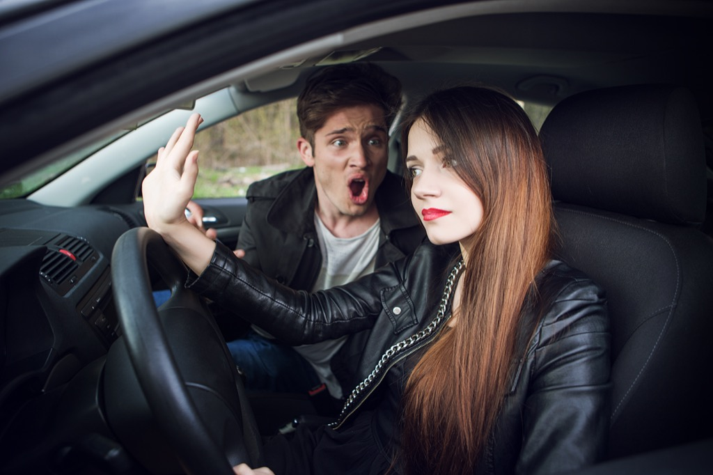 Couple is fighting in the car
