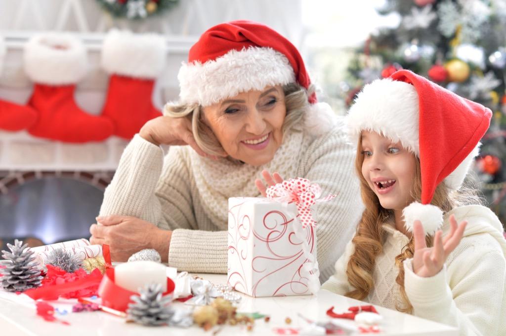 Grandma giving a gift at Christmas