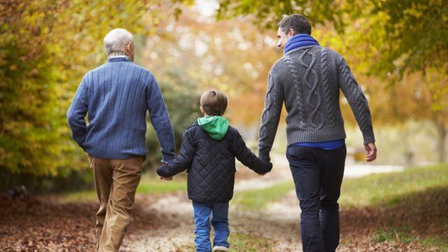 Grandpa, son, and grandchild