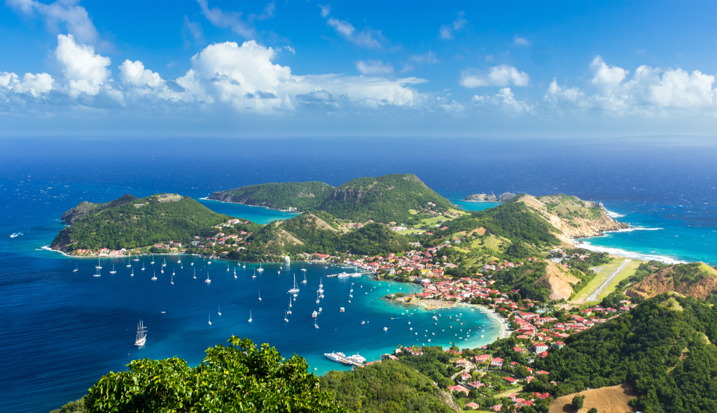 aerial view of guadeloupe island and waterfront and boats