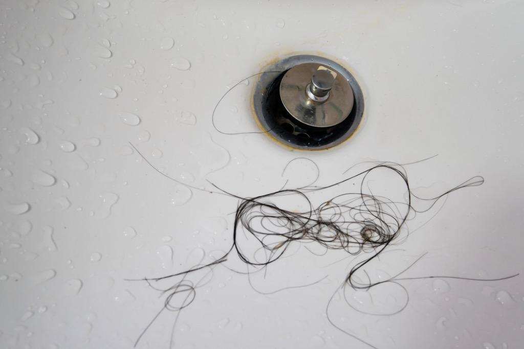 hair in shower